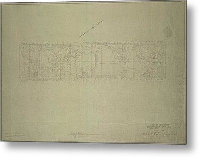 Metal Print featuring the photograph Central Park City Of New York Department Of Parks Map 1934 by Duncan Pearson