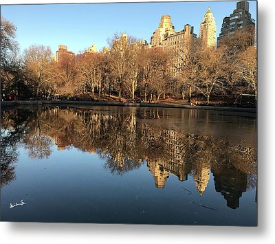 Metal Print featuring the photograph Central Park City Reflections by Madeline Ellis