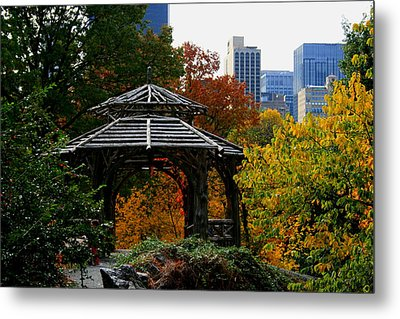 Central Park Gazebo Metal Print by Christopher Kirby