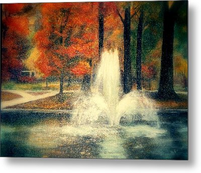Central Park In Autumn Metal Print by Gail Kirtz