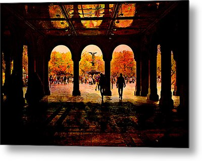 Central Park Nyc  Under The Bridge Metal Print by Jeff Burgess