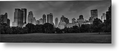 Central Park Skyline Pano 001 Bw Metal Print by Lance Vaughn