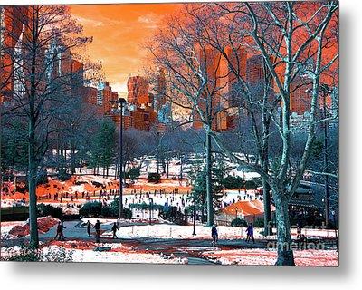 Central Park Snow Pop Art Metal Print by John Rizzuto