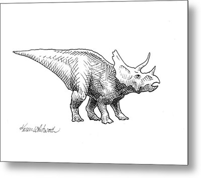 Metal Print featuring the drawing Cera The Triceratops - Dinosaur Ink Drawing by Karen Whitworth