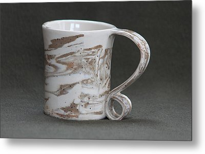Ceramic Marbled Clay Cup Metal Print by Suzanne Gaff