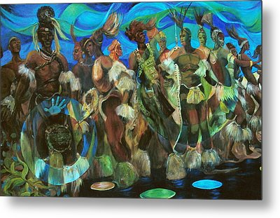 Ceremonial Dance Of The Mighty Zulus Metal Print by Lee Ransaw
