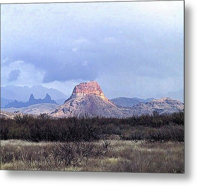 Metal Print featuring the painting Cerro Castellan And Mule Ears  by Dennis Ciscel