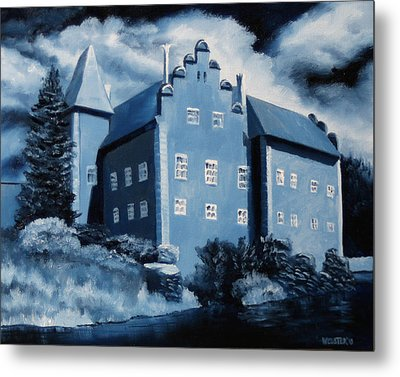 Cervena Lhota Castle  Czech Republic  Midnight Oil Series Metal Print