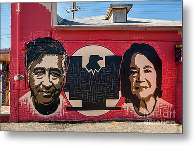 Cesar Chavez And Dolores Huerta Mural - Utah Metal Print by Gary Whitton