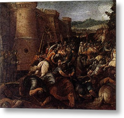 Cesari Giuseppe St Clare With The Scene Of The Siege Of Assisi Metal Print by Giuseppe Cesari