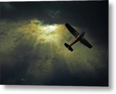 Cessna 172 Airplane Metal Print by photograph by Anastasiya Fursova