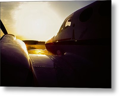 Cessna 421c Golden Eagle IIi Silhouette Metal Print by Greg Reed
