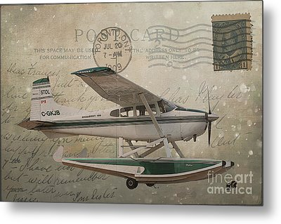 Cessna Skywagon 185 On Vintage Postcard Metal Print