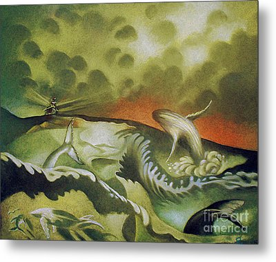 Cetacean Sunset Metal Print