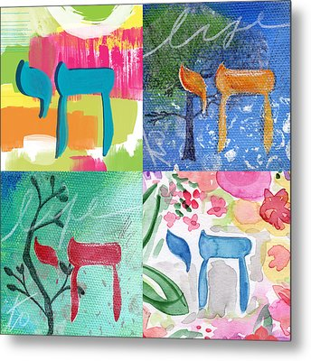 Chai Collage- Contemporary Jewish Art By Linda Woods Metal Print by Linda Woods
