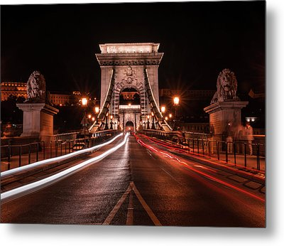 Metal Print featuring the photograph Chain Bridge At Midnight by Jaroslaw Blaminsky