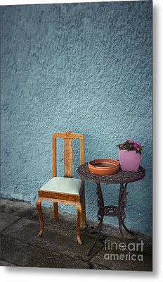 Chair And Iron Table Metal Print by Carlos Caetano
