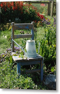 Chair And Watering Can Metal Print by William Thomas