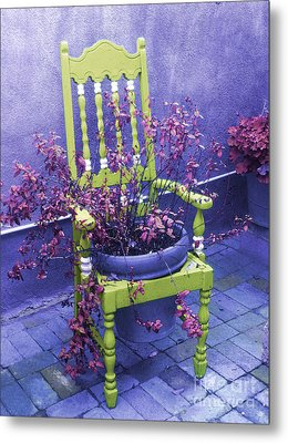 Chair In Chartreuse		 Metal Print by Ann Johndro-Collins