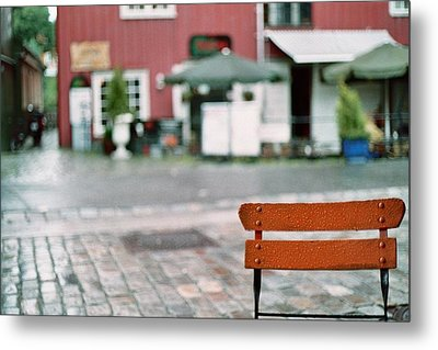 Chair In Trondheim Metal Print by Gregory Barger