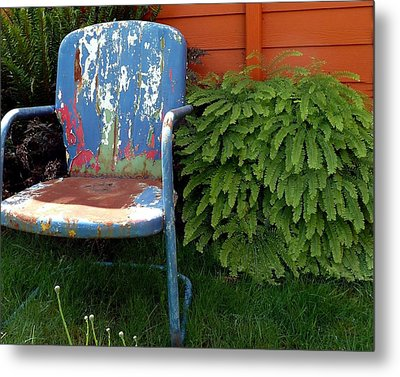 Chair Of Many Colors Metal Print by Patricia Strand