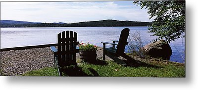 Chairs At The Lakeside, Raquette Lake Metal Print