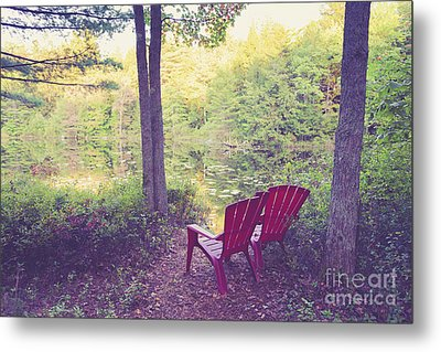 Chairs Beside A Forest Pond Metal Print