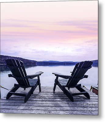 Chairs On Lake Dock Metal Print