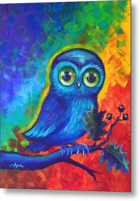 Metal Print featuring the painting Chakra Abstract With Owl by Agata Lindquist