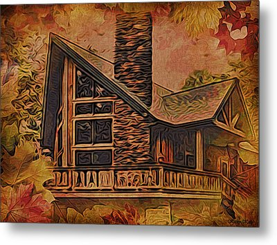 Metal Print featuring the digital art Chalet In Autumn by Kathy Kelly