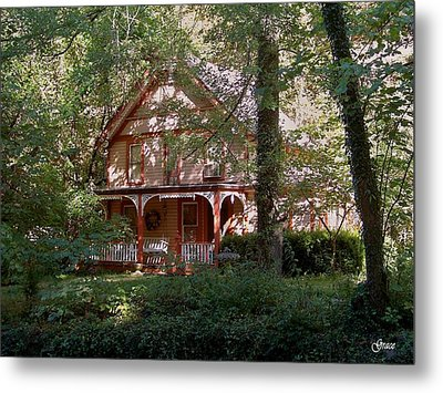 Chalet In The Trees Metal Print by Julie Grace