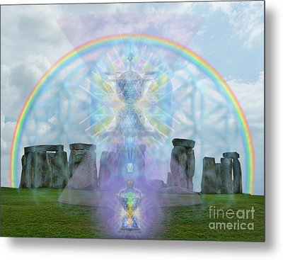 Chalice Over Stonehenge In Flower Of Life And Man Metal Print by Christopher Pringer