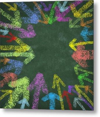 Chalk Drawing Colorful Arrows Metal Print by Setsiri Silapasuwanchai