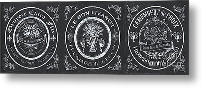Chalkboard French Cheese Labels Metal Print by Debbie DeWitt