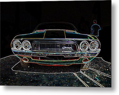 Challenger Neon Metal Print by Darrell Foster