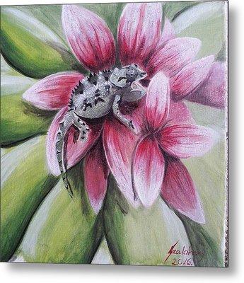 Chameleon In The Flower Metal Print
