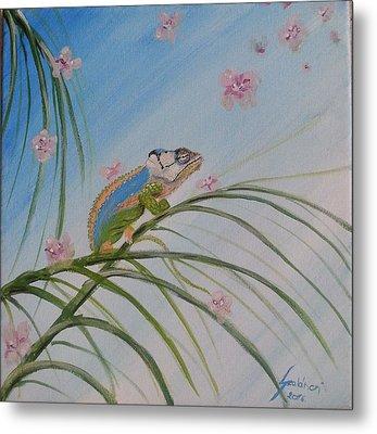 Chameleon On The Palm Tree Metal Print