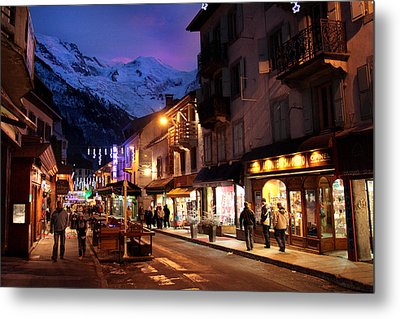 Chamonix Town In The Shadow Of Mont Blanc In The French Alps Metal Print by Pierre Leclerc Photography