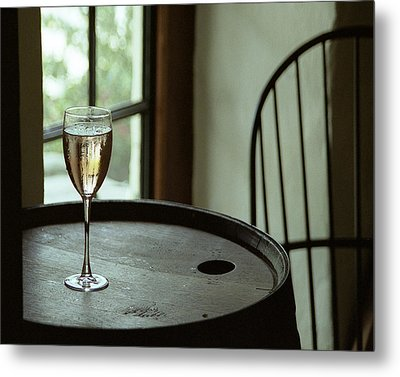 Champagne Glass Metal Print by Barry Shaffer