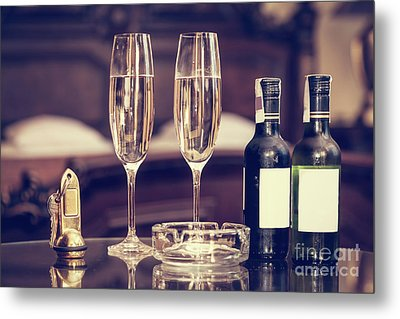 Champagne, Glasses, Antique Keys. Luxury Hotel Apartment, Room Service Metal Print by Michal Bednarek