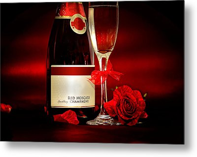 Champagne With Red Roses And Petals Metal Print