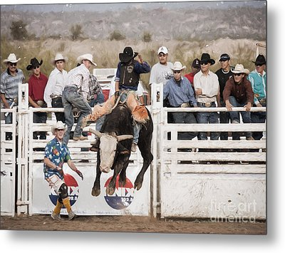 Metal Print featuring the photograph Champion Bull Rider by Marianne Jensen
