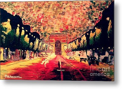 Champs-elysee  Metal Print by Moscolexy Moscolexy