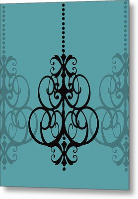 Metal Print featuring the photograph Chandelier Delight 1- Blue Background by KayeCee Spain