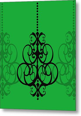 Metal Print featuring the photograph Chandelier Delight 1- Green Background by KayeCee Spain