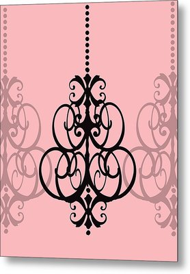 Chandelier Delight 1- Pink Background Metal Print by KayeCee Spain