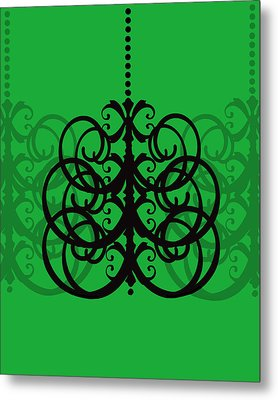 Metal Print featuring the photograph Chandelier Delight 2- Green Background by KayeCee Spain