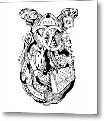 Chanel Abstract Drawing Metal Print