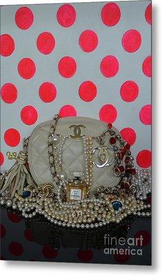 Chanel And Pink Polka Dots Metal Print by To-Tam Gerwe