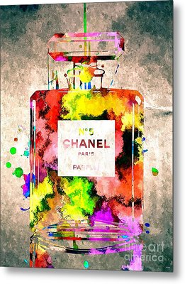 Chanel No 5 Grunge Metal Print